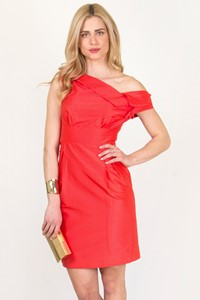 Grazia Bagnaresi Red Silk Taffeta Dress / Size: 42 IT - Fit: S / M